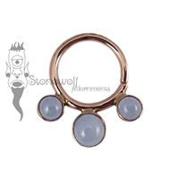 18K Rose Gold Seam Ring with Ice Blue Jadeite Stones
