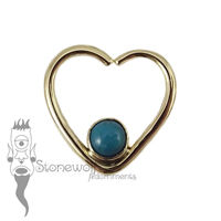 18K Yellow Gold Heart Seam Ring with Peruvian Chryscolla Stone