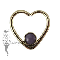 18K Yellow Gold Heart Seam Ring with Purple Jadeite Stone