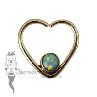 18K Yellow Gold Heart Seam Ring with Light Blue Opal Stone