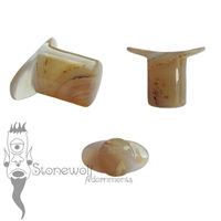 Banded Agate Stone Round Labret Made to Order