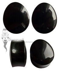 Banded Obsidian Double Flared Teardrop Plugs 28mm -Ready To Ship