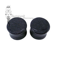 Pair of Blue Goldstone Plugs Double Flared Made to Order