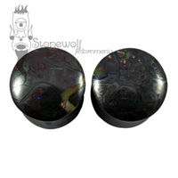 Pair of Boulder Opal Stone Plugs Double Flared Made to Order