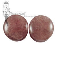 Pair of Cherry Quartz Stone Plugs Double Flared Made to Order