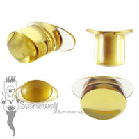 Citrine Yellow Glass 11mm Oval Labret - Ready To Ship