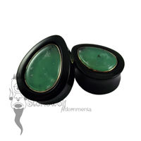 Delrin with Chrysoprase Inlay 32mm Teardrop Plugs -Ready To Ship