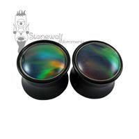 Pair of Delrin Plugs with Dark Aurora Opal Inlay Made to Order