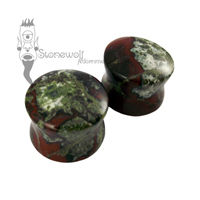 Pair of Dragons Blood Jasper Plugs Double Flared Made to Order