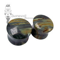 Pair of Gary Green Jasper Plugs Double Flared Made to Order