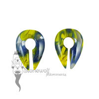 Gorilla Glass Blue & Yellow Power Keyhole Ear Weights