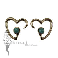 Pair of Bronze Jewel of my Heart Weights - Chrysocolla