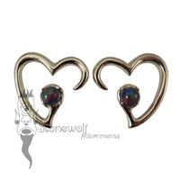 Pair of Bronze Jewel of my Heart Weights - Dark Aurora Opal