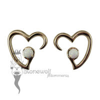Pair of Bronze Jewel of my Heart Weights - White Synthetic Opal