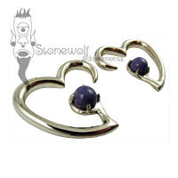 Pair of 925 Silver Jewel of my Heart Ear Weights - Made to Order