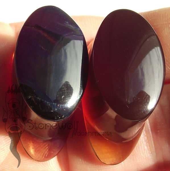 Blue Amber Stone Oval Labret Made to Order - Click Image to Close