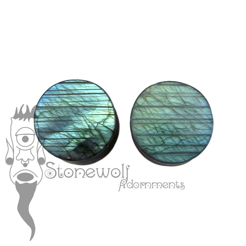Labradorite 16mm Double Flared Plugs - Ready To Ship - Click Image to Close