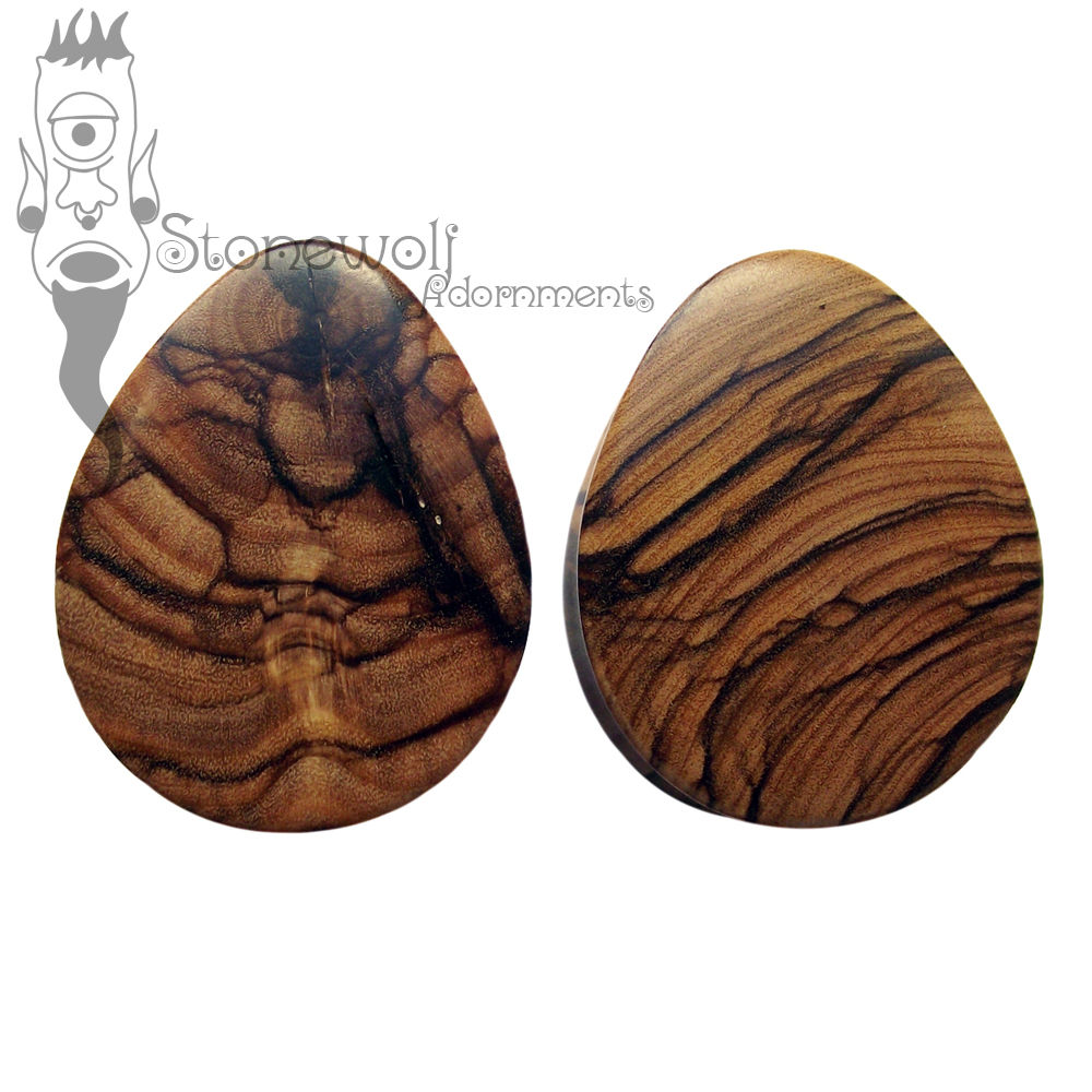 Pair of Olive Wood Teardrop Plugs Double Flared - Click Image to Close