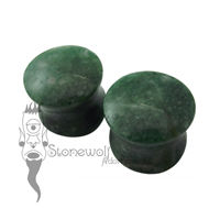 Pair of Light Green Aventurine Plugs Double Flared Made to Order
