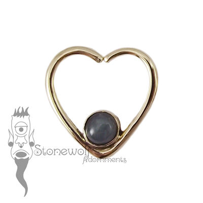 18K Yellow Gold Heart Seam Ring with Dark Blue Jadeite Stone