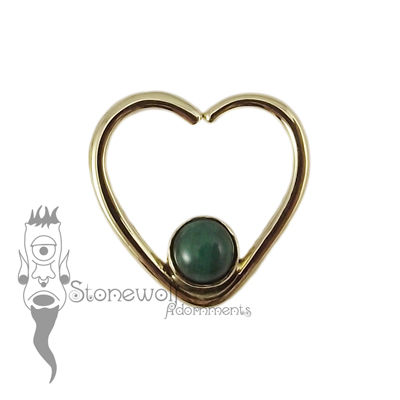 18K Yellow Gold Heart Seam Ring with Malachite Stone
