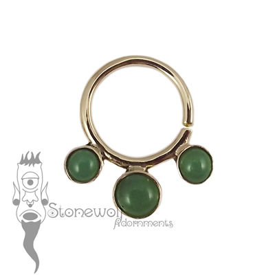 18K Yellow Gold Seam Ring with Chrysoprase Stones -Ready To Ship