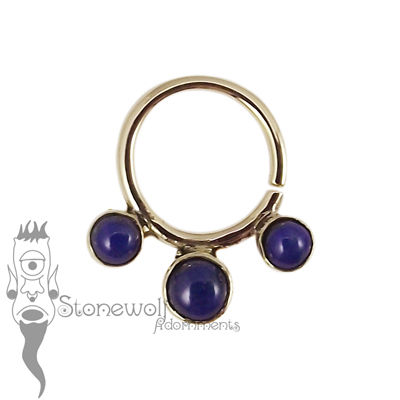 18K Yellow Gold Seam Ring with Lapis Stones - Ready To Ship