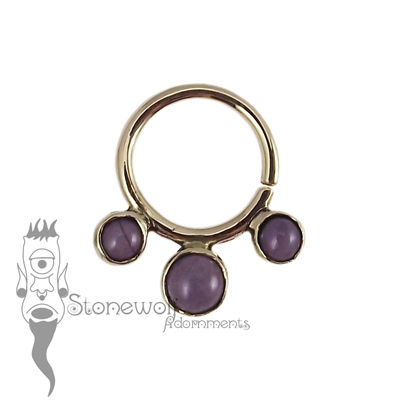 18K Yellow Gold Seam Ring with Purple Turkish Jadeite