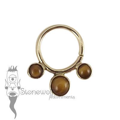 18K Yellow Gold Seam Ring with Tigers Eye Stones - Ready To Ship