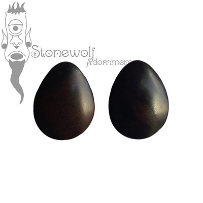 Pair of Black Ebony Teardrop Wood Plugs- Made to Order