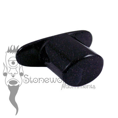 Blue Goldstone 8mm Oval Glass Labret - Ready To Ship