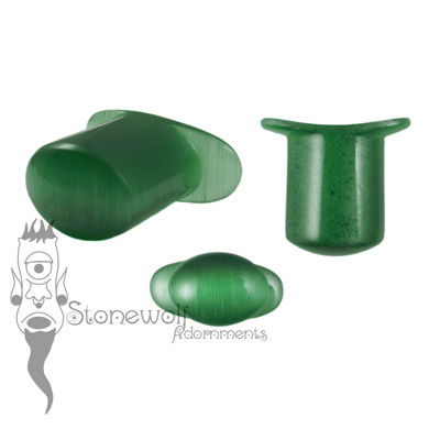 Green Cats Eye Glass 13mm Oval Labret - Ready To Ship