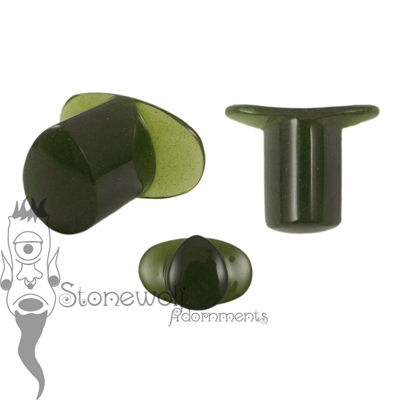 Olive Green Frosted Glass 10mm Teardrop Labret - Ready To Ship