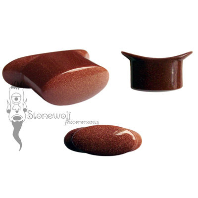 Brown Goldstone Glass Oval Labret Made to Order