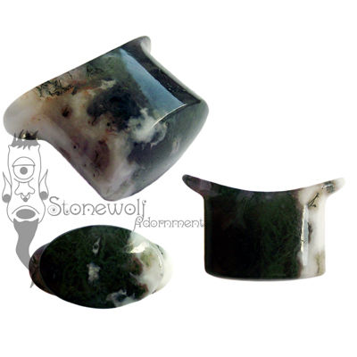 Green Moss Agate Stone Oval Labret Made to Order