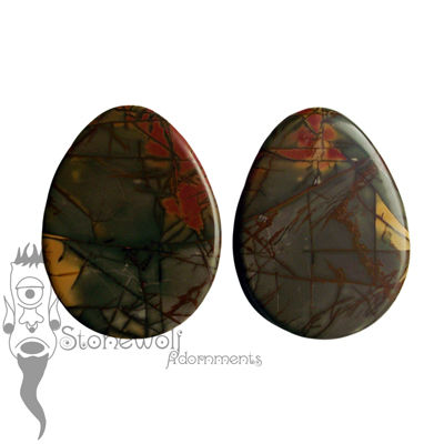 Pair of Picasso Jasper Stone Teardrop Plugs Double Flared