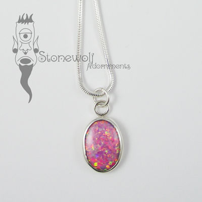 Pink Opal With Sterling Silver Pendant - Ready To Ship