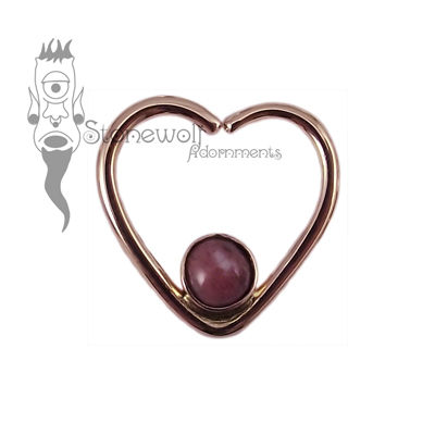 18K Rose Gold Heart Seam Ring with Rose Jasper Stone