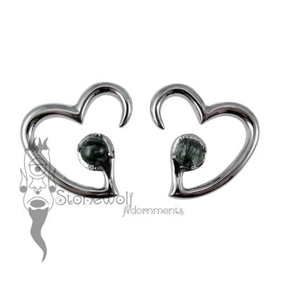 Pair of 925 Silver Jewel of my Heart Weights - Seraphinite