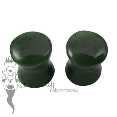 Yukon Nephrite Jade 8mm Double Flared Plugs - Ready To Ship