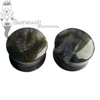 Pair of Green Moss Agate Stone Plugs Double Flared Made to Order
