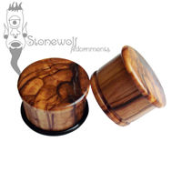 Pair of Olive Wood Plugs Double Flared Made to Order