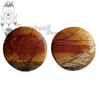 "Multi-Coloured Picasso Jasper Stone Plugs 25mm (1"")"