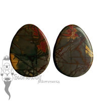 Pair of Picasso Jasper Stone Teardrop Plugs- Made to Order