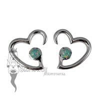 Pair of Silver Jewel of my Heart Weights - Blue Synthetic Opal