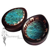 Pair of Wood Teardrop Plugs with Stone Inlay- Made to Order