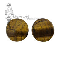 Yellow Tigers Eye 30mm Double Flared Plugs - Ready To Ship