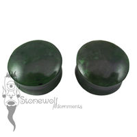 Pair of Yukon Jade Stone Plugs Double Flared Made to Order