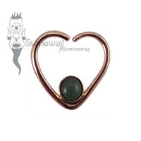 18K Rose Gold Heart Seam Ring with BC Jade Stone - Ready to Ship