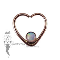 18K Rose Gold Heart Seam Ring with White Aurora Opal Stone